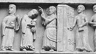 Die klugen und die törichten Jungfrauen <BR>(Portal Basler Münster, Foto A.Fürniss)